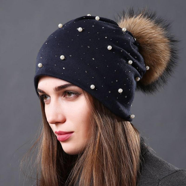 Julia Crystal and Pearl- Embellished Hat-Navy - womens hats