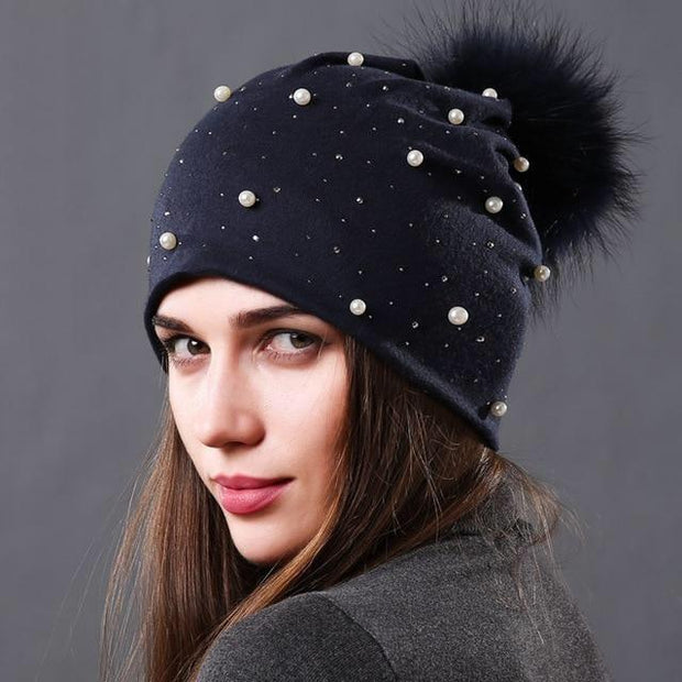 Julia Crystal and Pearl-Embellished Hat-Navy - womens hats