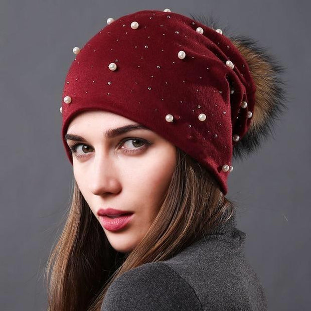 Julia Crystal and Pearl-Embellished Hat-Wine - womens hats