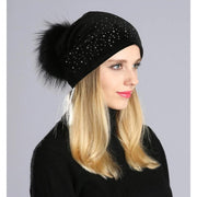 Julia Crystal Embellished Velvet Hat - Black - womens hats