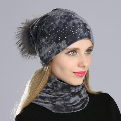 Julia Crystal Embellished Velvet Hat -Gray - womens hats