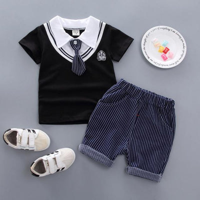 JUSTIN - Boys T-Shirt and Shorts Set - Black / 9M - boys