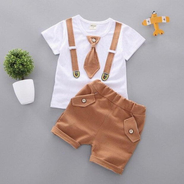 JUSTIN - Boys T-Shirt and Shorts Set - Brown / 9M - boys