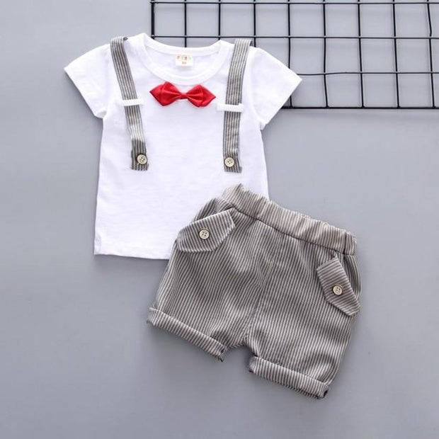 JUSTIN - Boys T-Shirt and Shorts Set - Gray 1 / 9M - boys