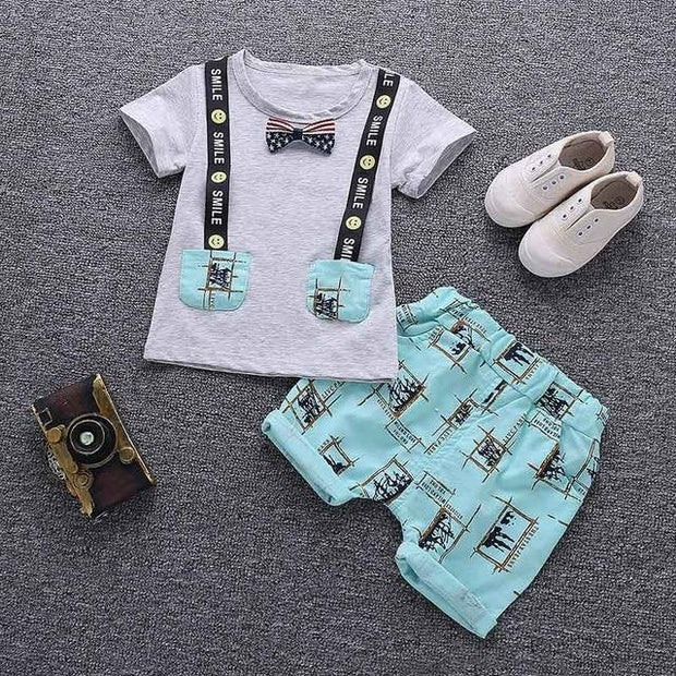JUSTIN - Boys T-Shirt and Shorts Set - Gray 2 / 3T - boys