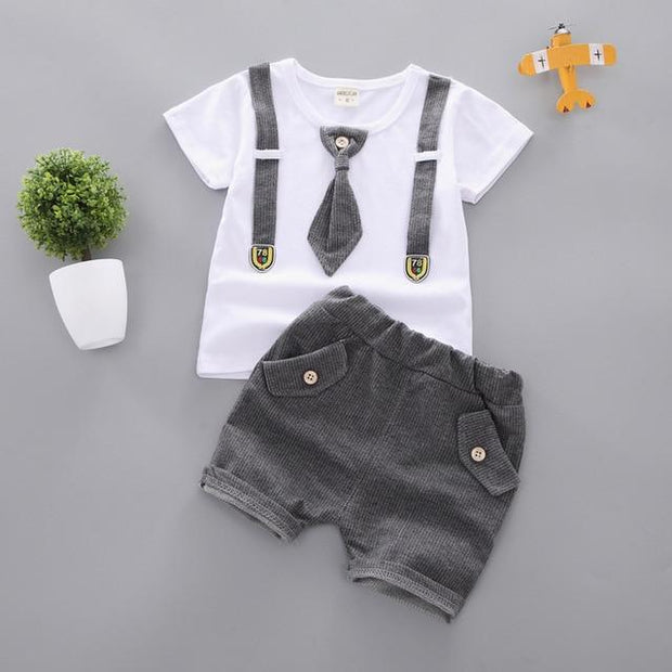 JUSTIN - Boys T-Shirt and Shorts Set - Gray / 9M - boys