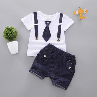 JUSTIN - Boys T-Shirt and Shorts Set - Navy blue 1 / 9M -