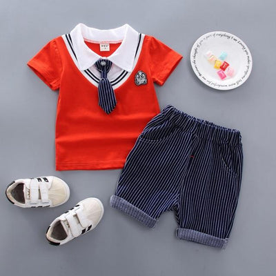 JUSTIN - Boys T-Shirt and Shorts Set - Red 1 / 9M - boys