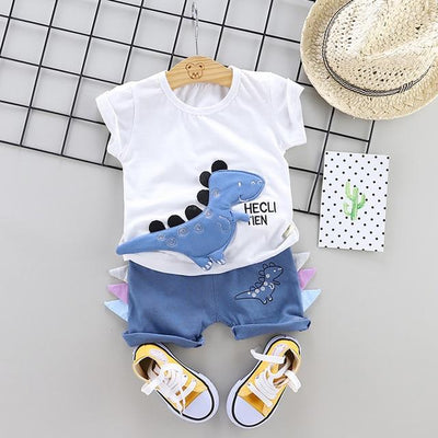 JUSTIN - Boys T-Shirt and Shorts Set - White 2 / 9M - boys
