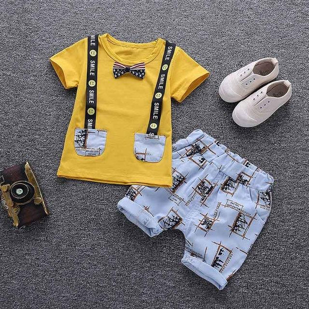 JUSTIN - Boys T-Shirt and Shorts Set - Yellow / 3T - boys