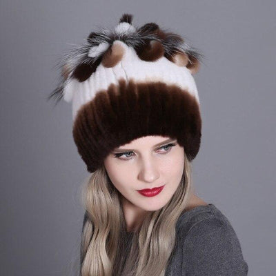Kamila Genuine Rabbit Fur Knit Hat - Brown/White - Women's