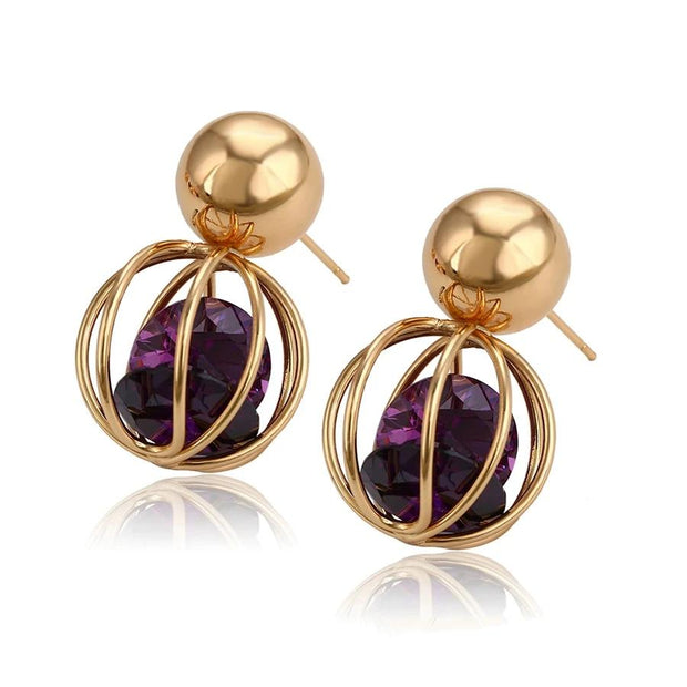 Kate Drop Earrings - Gold-color / purple - Women's Earrings