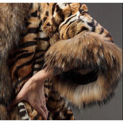 KEIRA - Tiger Print Fox Fur Coat with Raccoon Fur Trim -