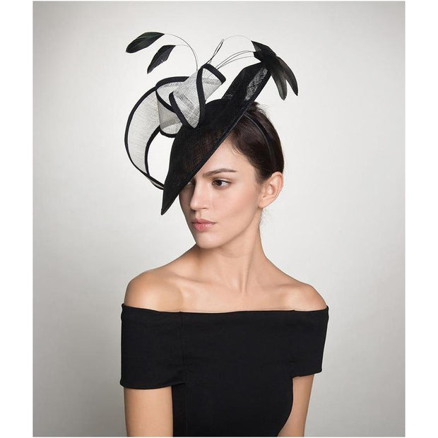 KELMA - Black and White Sinamay Straw Fascinator - Millinery