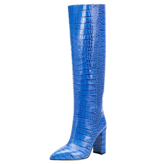 Kervana - Croc Embossed Knee High Boots - lanseshitouwen /