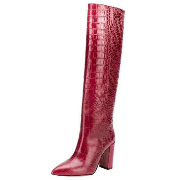 Kervana - Croc Embossed Knee High Boots - Wine Red / 3 -