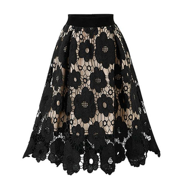 KIMBER - Black Floral Lace Skirt - women's skirts