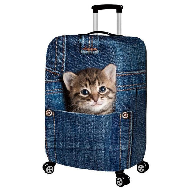 Kitten in Back Pocket 3D Pattern Luggage Protection Cover -
