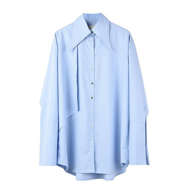 Klanda - Pin Detail Blue Blouse - light Blue / S - women's