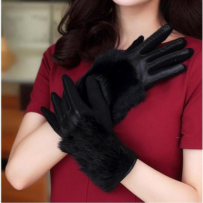 Knitted Gloves with Genuine Leather and Rabbit Fur - women's