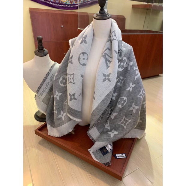 L54678Shawl Scarf - Grey - women's scarf