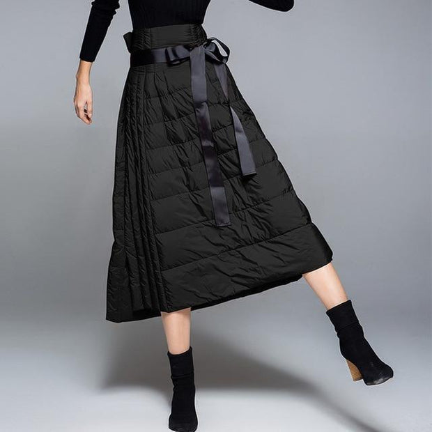 Ladies A-line Down-filled Skirt - black / S - women's