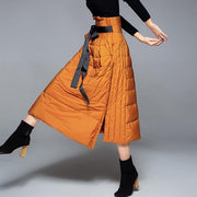 Ladies A-line Down-filled Skirt - orange / S - women's