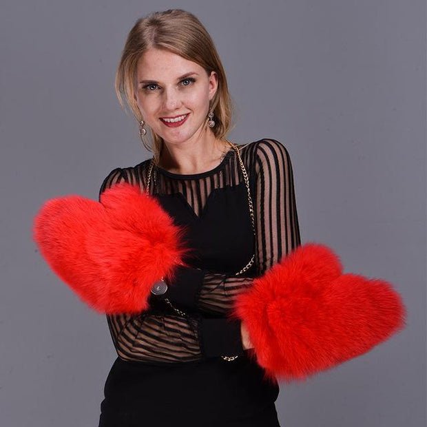 Ladies Thick Fox Fur Mittens - women's gloves