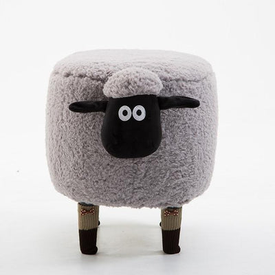 Lamb Ottoman-Gray - stools and ottomans