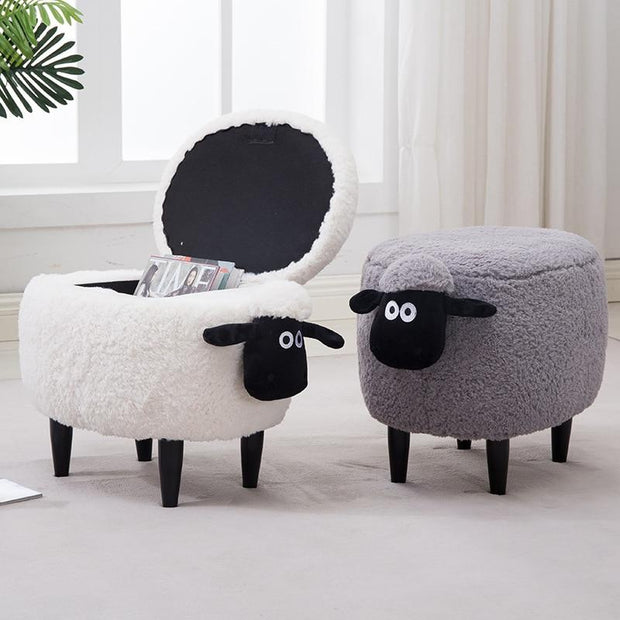 Lamb Storage Ottoman-Gray - stools and ottomans