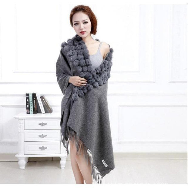 Large Gray Wool and Rabbit Fur Blanket Scarf - Fur Scarves