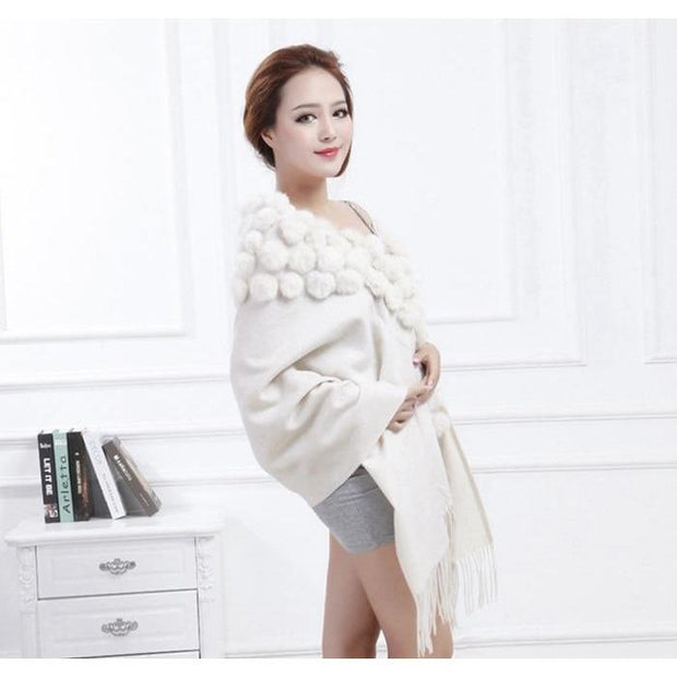 Large White Wool and Rabbit Fur Blanket Scarf - Fur Scarves