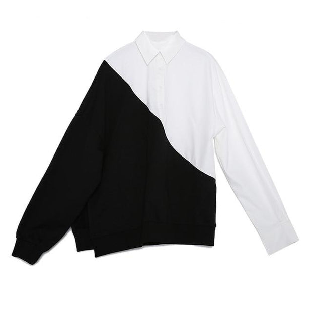LAURA - The half and half blouse - black / M - women's
