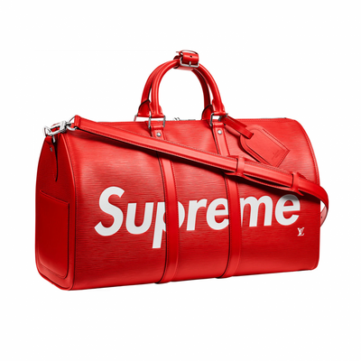 Louis Vuitton X Supreme Red Epi Keepall Bandouliere Duffle