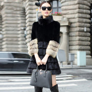 Lyric- Rex Rabbit Fur Coat with Mink Fur Hem and Fox Fur