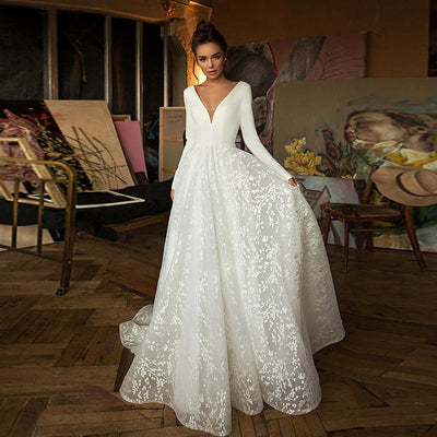 MACIE - Satin V-Neckline Wedding Dress - Wedding Dress
