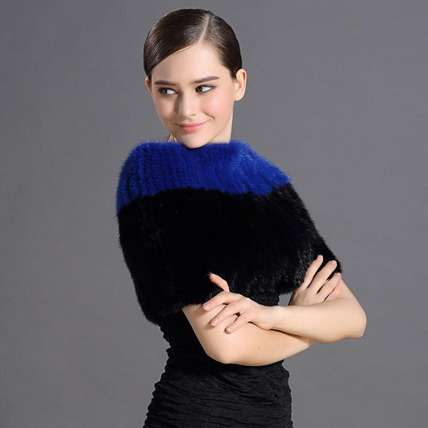 Mary Mink Blue and Black Fur Shoulder Shawl - Fur Shawls