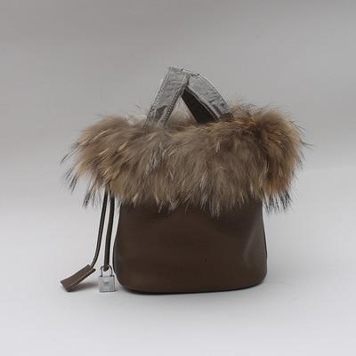 Maureen Fox Fur and Genuine Leather Bucket Bag - Brown /