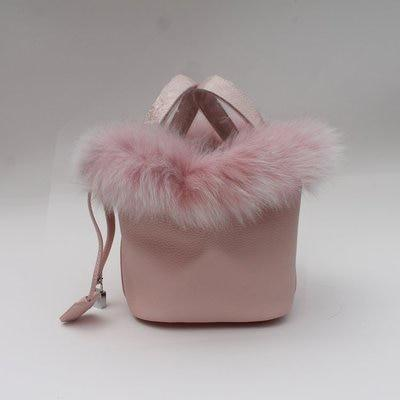 Maureen Fox Fur and Genuine Leather Bucket Bag - Pink /