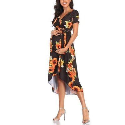 MELODY - Wrap with Waist Belt Adjustable Maternity Dress -
