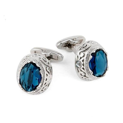 Men's Blue Crystal Cufflinks - Men's cufflinks