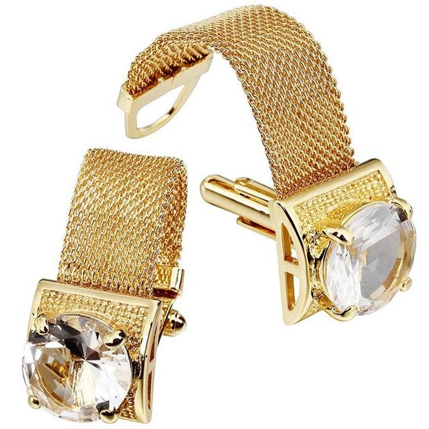 Men's Crystal Embellished Cufflinks with Mesh Band - Men's
