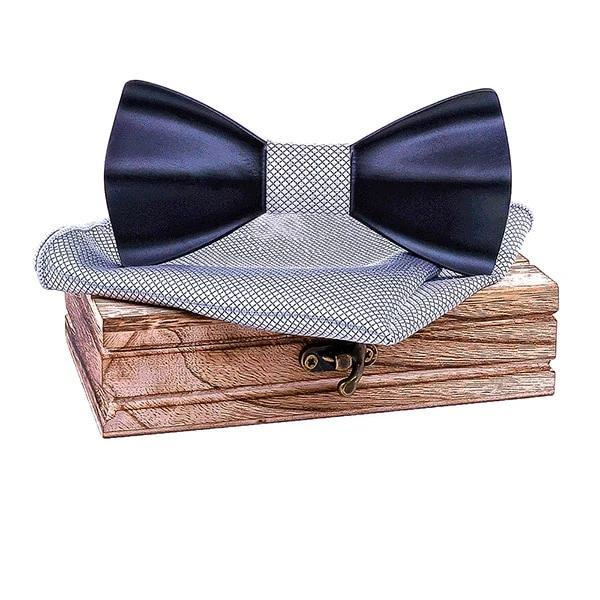 Men's Wooden Tie with Handkerchief - Blue - Men's Ties