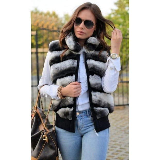 Mia Rex Rabbit Fur Vest - L Fur Bust 96 cm - women's vests