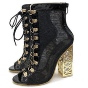 Mika - Golden Heel Sandal Boot Black - Black / 3 - women's