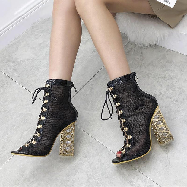 Mika - Golden Heel Sandal Boot Black - women's Shoes
