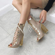 Mika - Golden Heel Sandal Boot Gold - women's Shoes
