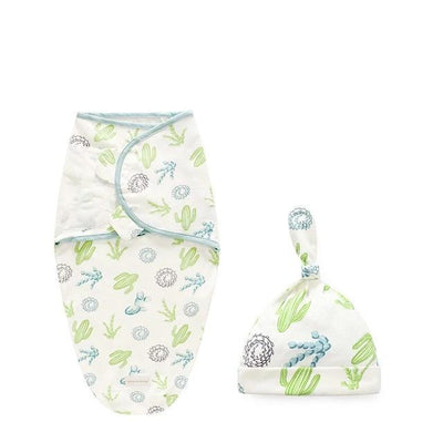 Miracle Baby SwaddleMe Swaddle with Cap - Cactus S -