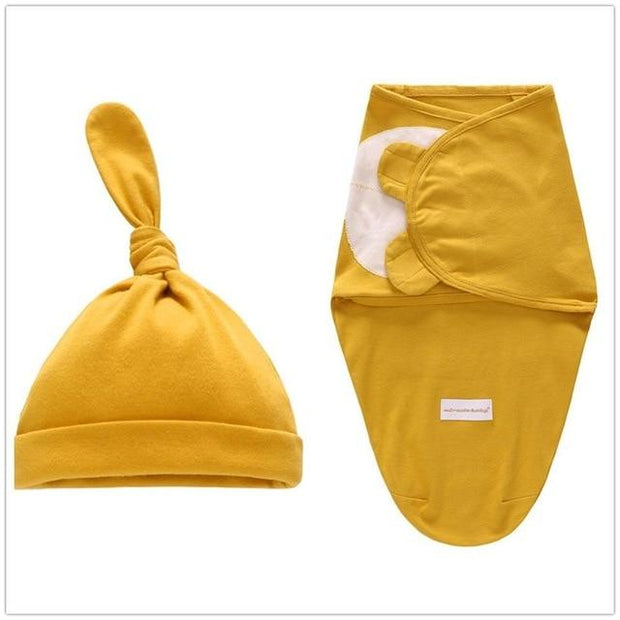 Miracle Baby SwaddleMe Swaddle with Cap - Dark yellow L -