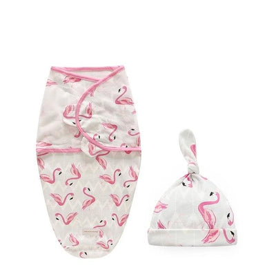 Miracle Baby SwaddleMe Swaddle with Cap - Flamingo S -